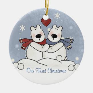couples First Christmas Polar Bear Ornament