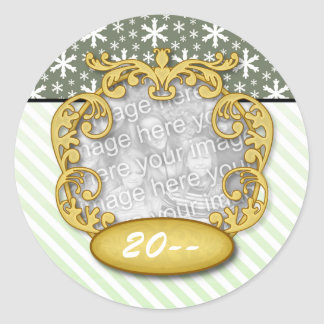 Couple's first christmas Snowflake Stripe Green Classic Round Sticker