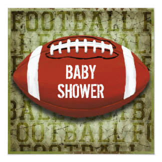 Couples Football Baby Shower Green Grunge Card