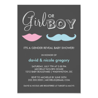 Couples Gender Reveal Baby Shower 5x7 Paper Invitation Card