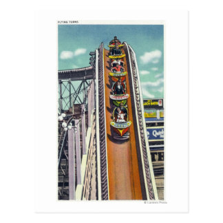 Couples Going Down the Flying Turns Ride Post Card