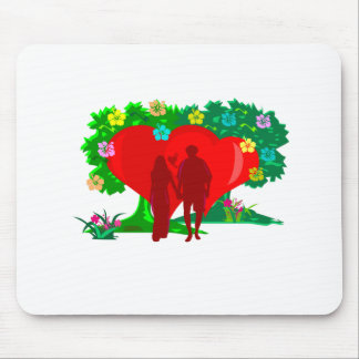 couples in red heart and flowers mouse pad