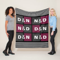 Couples Initials Snuggled Together Modern Pattern Fleece Blanket