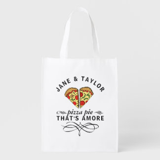 Couple's Love Pizza Personalized Grocery Bag