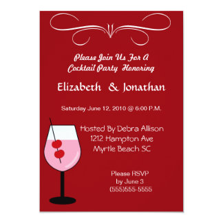 """Couples Mixed Drink Cocktail  Party  Invitation 5"""" X 7"""" Invitation Card"""