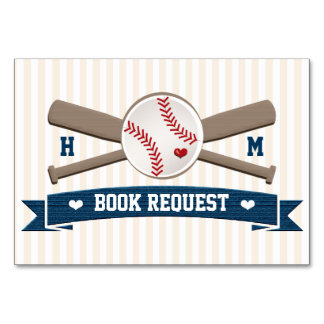 COUPLES MONOGRAM BASEBALL BABY SHOWER BOOK REQEUST CARD