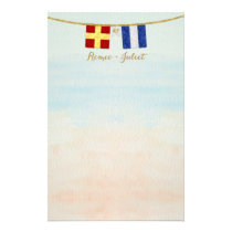 Couples Monogram Maritime Signal Flags Watercolor Stationery