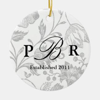 Couple's Monogram Ornament Gray