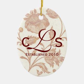 Couples Monogram Ornament: Red Ceramic Ornament
