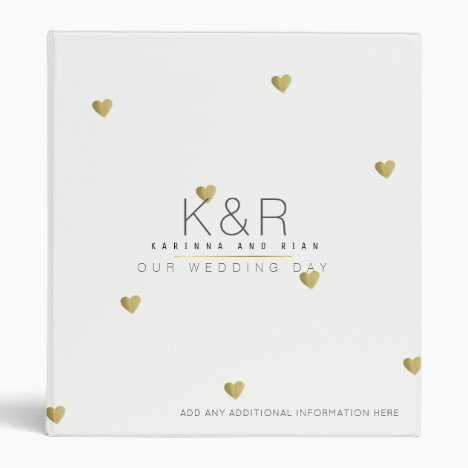 couples monogram with gold hearts wedding white 3 ring binder