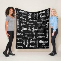 Couples Name w/Children & Grandchildren Names Fleece Blanket