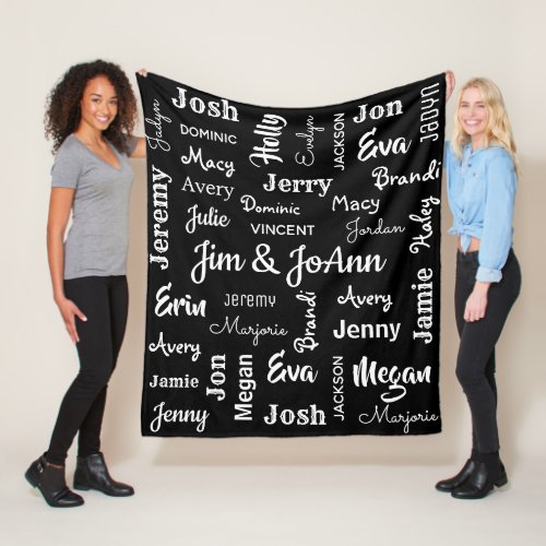 Couples Name wChildren  Grandchildren Names Fleece Blanket