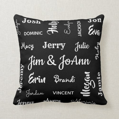 Couples Name wChildren  Grandchildren Names Throw Pillow