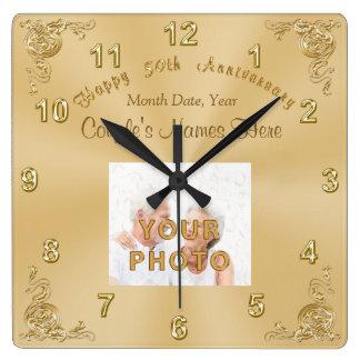Couple's NAMES, DATE, PHOTO 50th Anniversary CLOCK