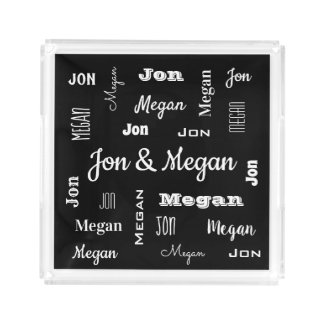 Couples Names In Cool Fonts Acrylic Tray