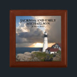 """Couple's Names Wedding Date Lighthouse Sunset Gift Box<br><div class=""""desc"""">This beautiful Portland Head Lighthouse,  Maine gift box,  personalized for the newlywed couple,  has their names and wedding date on the front. Choose your size and color.</div>"""