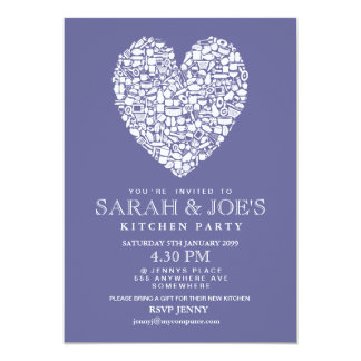 "Couple's New Kitchen House Warming Party Invite 5"" X 7"" Invitation Card"