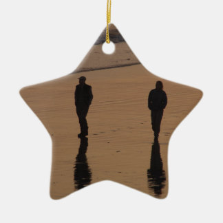couples on the beach ceramic ornament