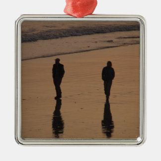 couples on the beach metal ornament