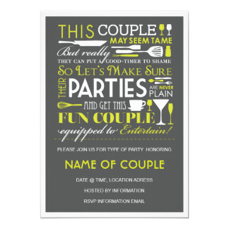 """Couples Party 5"""" X 7"""" Invitation Card"""