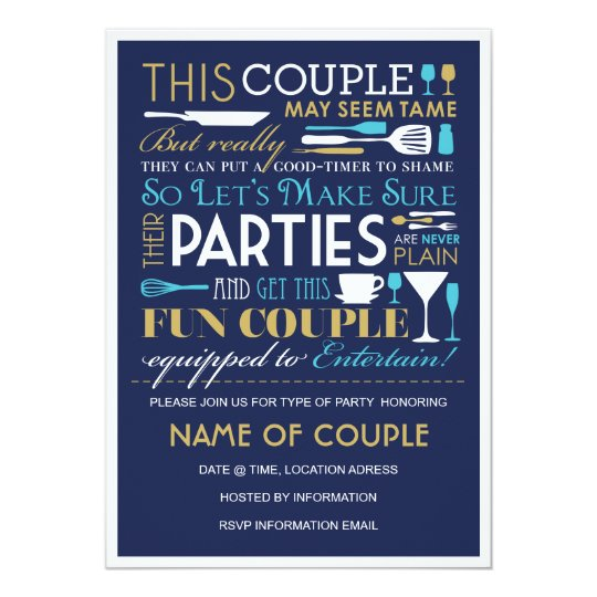 Couples Party Blue and Gold Card