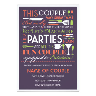 Couples Party Eggplant 5x7 Paper Invitation Card