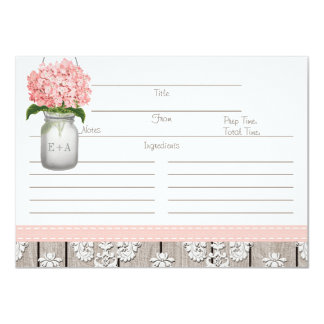 Couples Pink Hydrangea Mason Jar Recipe Card