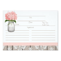 Couples Pink Hydrangea Mason Jar Recipe Card