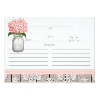 "Couples Pink Hydrangea Mason Jar Recipe Card 4.5"" X 6.25"" Invitation Card"