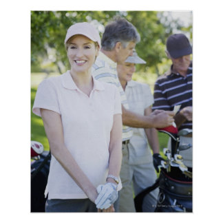 Couples preparing to play golf poster