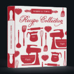 """Couples Recipe Binder Kitchen Essentials Red<br><div class=""""desc"""">Bridal shower recipe book for a kitchen shower gift full of family and friends recipes.</div>"""