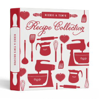 Couples Recipe Binder Kitchen Essentials Red