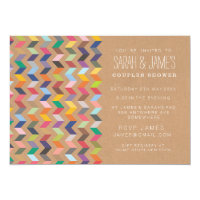 Couples Shower Aztec Chevron Party Invite