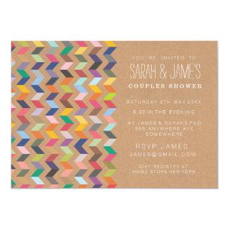 """Couples Shower Aztec Chevron Party Invite 5"""" X 7"""" Invitation Card"""