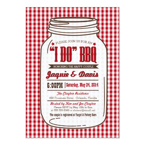 Couples Shower Mason Jar BBQ Invitation