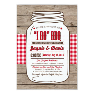 Couples Shower BBQ Invitation in Mason Jar on wood