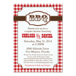 Couples Shower BBQ Invitation, Rustic Country Card