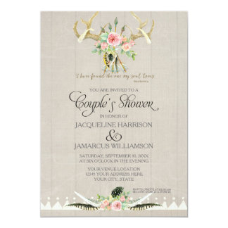 Couples Shower BOHO Feathers Deer Antler Roses Art Card