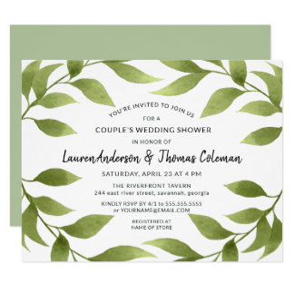 Couple's Shower Botanical Watercolor Willows Invitation