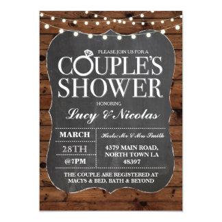 Couples Shower Chalk String Lights Invite