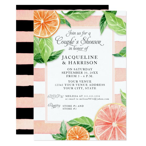 Couples Shower Citrus Pink Black Grapefruit Retro Card