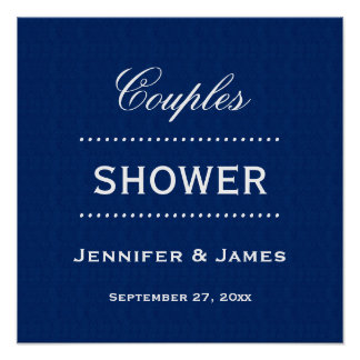 Couples Shower Classic Blue and White A04 Poster