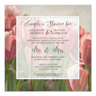 Couples Shower Coral Tulip Floral Wooden Wedding Card