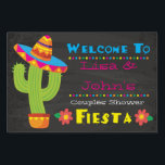 """Couples Shower Fiesta Welcome Sign<br><div class=""""desc"""">Celebrate the lovebirds with our Fiesta Couples Shower theme- a complete suite with invitations, paper goods and more! Our theme is designed with bright colors to stand out and set the tone for this fun fiesta! With customizable fields, you can edit names and more to make this welcome sign as...</div>"""
