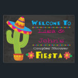 "Couples Shower Fiesta Welcome Sign<br><div class=""desc"">Celebrate the lovebirds with our Fiesta Couples Shower theme- a complete suite with invitations, paper goods and more! Our theme is designed with bright colors to stand out and set the tone for this fun fiesta! With customizable fields, you can edit names and more to make this welcome sign as...</div>"