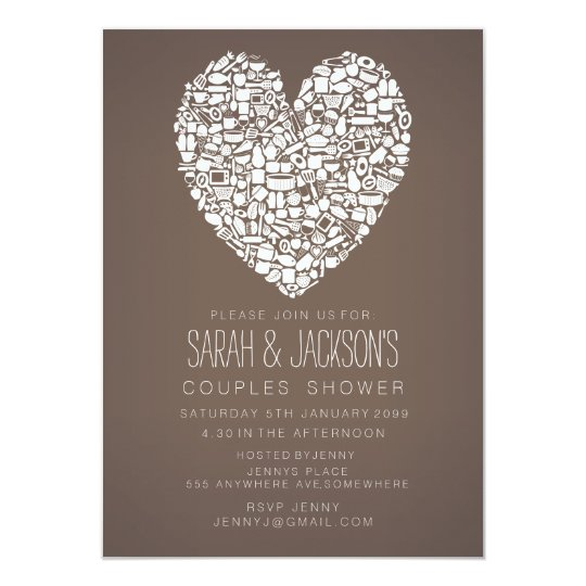 Couples Shower Foodies Heart Party Invite