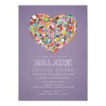 """Couples Shower Foodies Heart Party Invite 4.5"""" X 6.25"""" Invitation Card"""