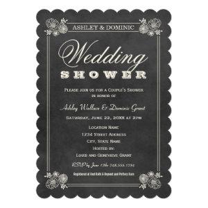 Couple's Shower Invitations | Black Chalkboard Custom Invitations