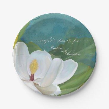 Beach Themed Couples Shower Magnolia Flower Blossom Modern Blue Paper Plate