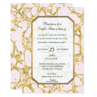 Couples Shower Marbled Marble Paper Rose Gold Pink Card